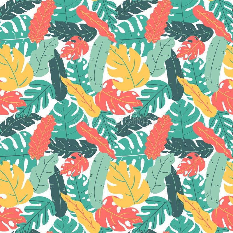 Modello tropicale disegnato a mano del disegno della mano della foglia di colore di autunno e di estate senza cuciture fotografie stock