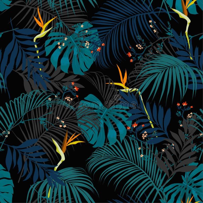 Modello tropicale scuro artistico d'avanguardia di notte di estate con variopinto royalty illustrazione gratis