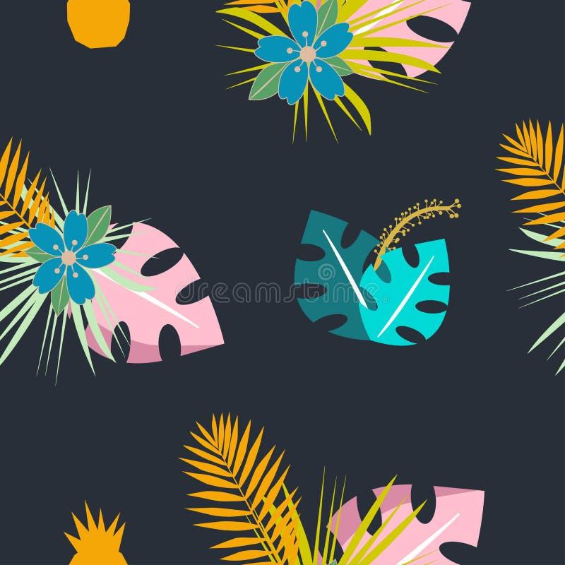 Modello tropicale senza cuciture con i fiori e le foglie Progettazione di erbe con le piante come struttura, tessuto, vestiti Ill illustrazione di stock