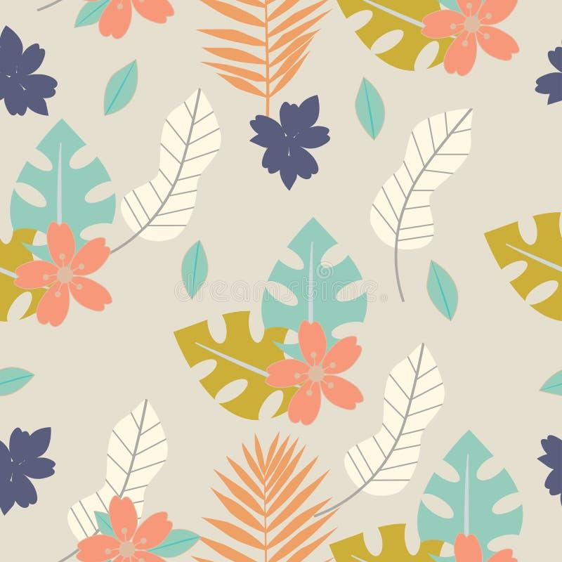 Modello tropicale senza cuciture con i fiori, le erbe e le foglie Progettazione floreale con le piante come struttura, tessuto, v illustrazione di stock