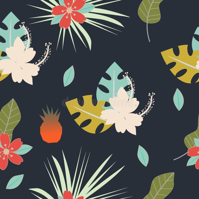 Modello tropicale senza cuciture con i fiori, le erbe, le foglie e la progettazione floreale dell'ananas con le piante come strut royalty illustrazione gratis