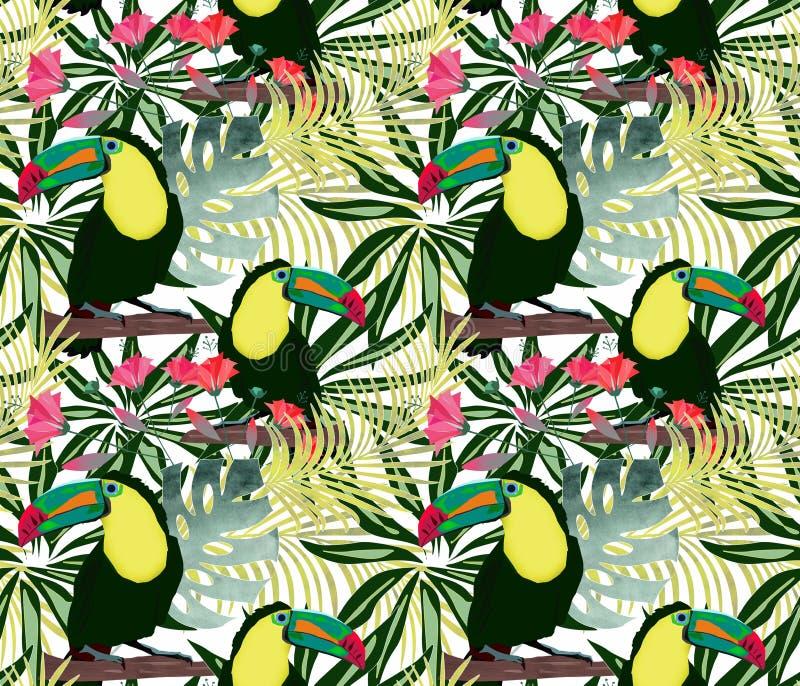 Modello tropicale senza cuciture con i tucani degli uccelli sui precedenti dei fiori delle foglie royalty illustrazione gratis