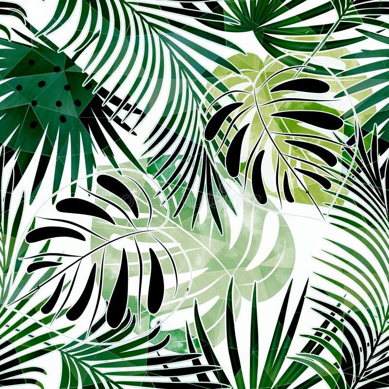 Modello tropicale variopinto senza cuciture con effetto dell'acquerello Modello alla moda per i tessuti illustrazione di stock