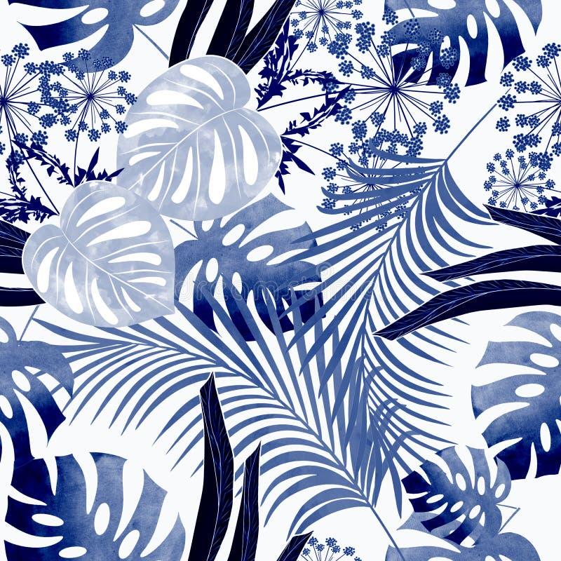 Modello tropicale variopinto senza cuciture con effetto dell'acquerello Modello alla moda per i tessuti illustrazione vettoriale