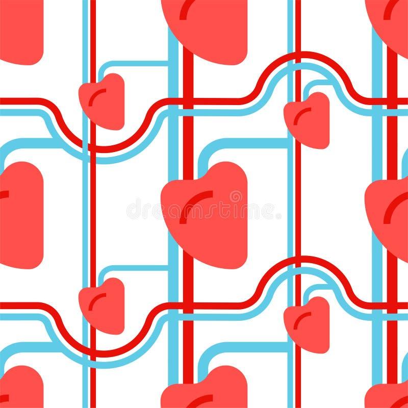 Modello umano del cuore senza cuciture Navi e capillari Organo di illustrazione di stock