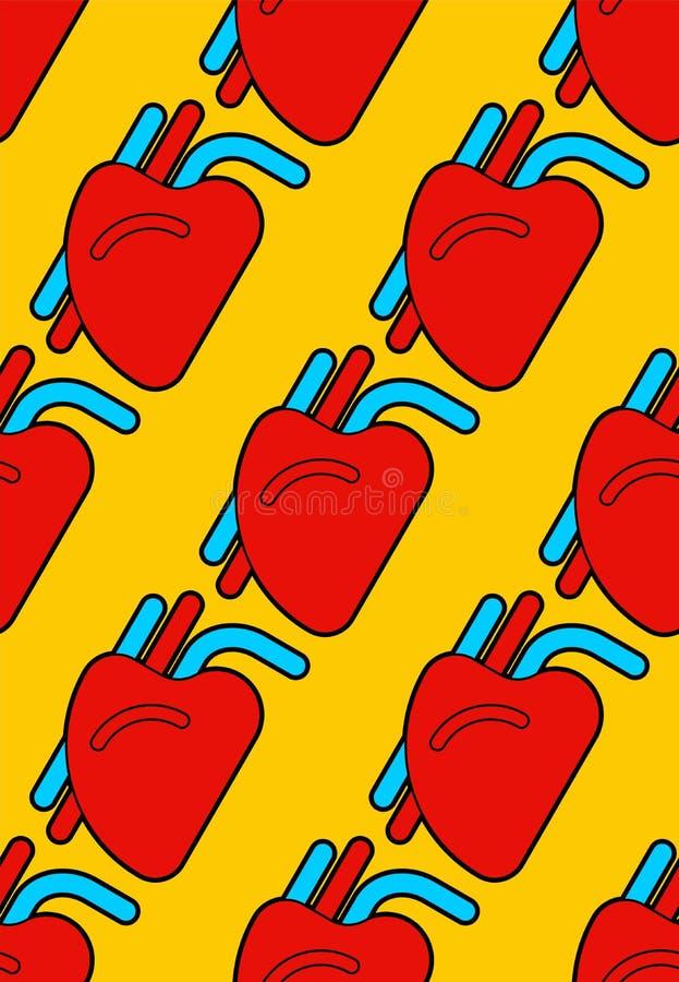 Modello umano del cuore senza cuciture Organo del fondo dell'uomo Vettore IL illustrazione vettoriale