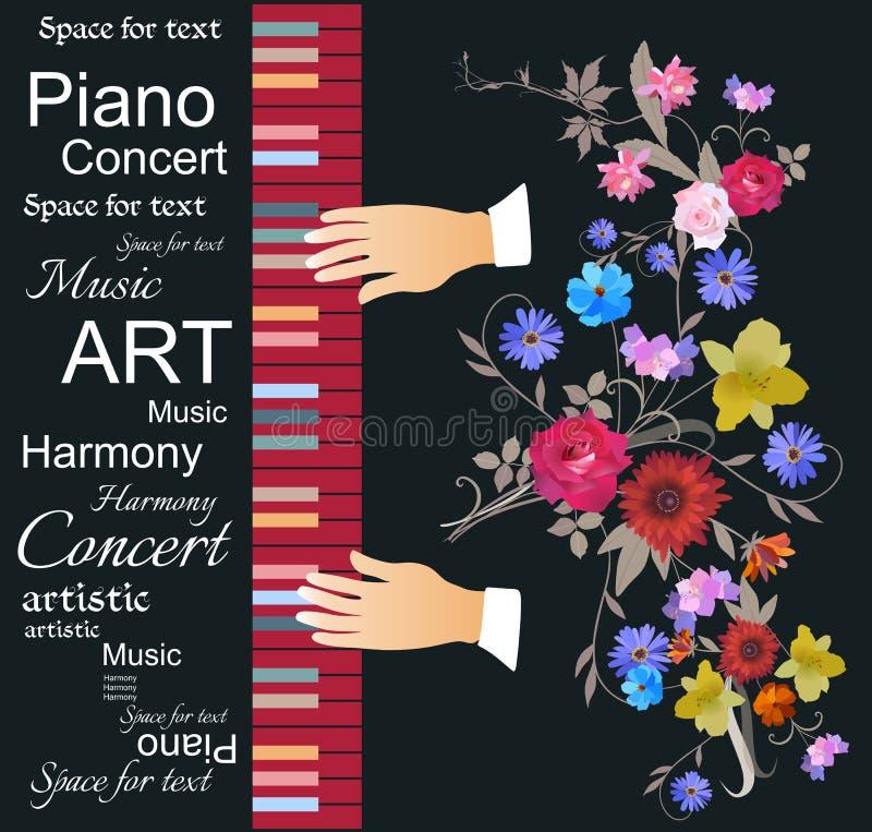 Modello unico dell'insegna musicale per il concerto di musica classica con le mani del musicista che giocano sul pianoforte a cod illustrazione vettoriale