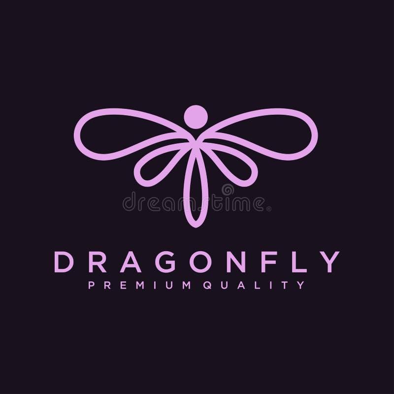 Modello unico di logo della libellula forma e colore semplici Vettore editable Progettazione elegante minimalista di logo della l royalty illustrazione gratis