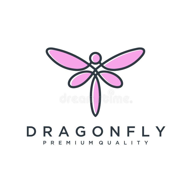 Modello unico di logo della libellula forma e colore semplici Vettore editable Progettazione elegante minimalista di logo della l illustrazione vettoriale