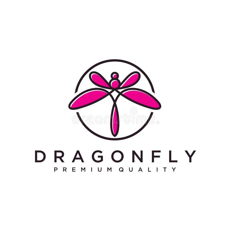 Modello unico di logo della libellula forma e colore semplici Vettore editable Progettazione elegante minimalista di logo della l illustrazione di stock