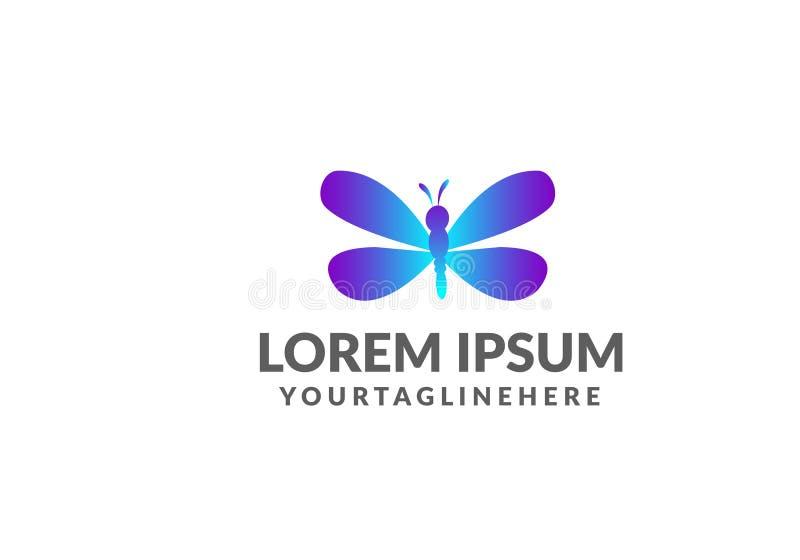 Modello unico di logo della libellula forma e colore semplici Vettore editable progettazione di logo della farfalla con forma e c illustrazione vettoriale
