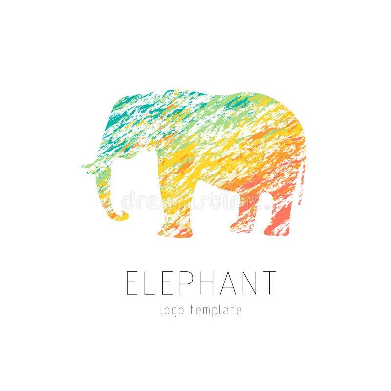 Modello variopinto creativo di logo dell'elefante fotografia stock libera da diritti