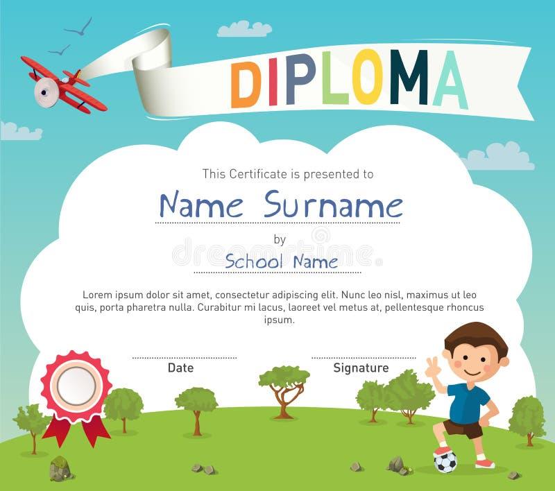 Modello variopinto del certificato del diploma del campeggio estivo dei bambini illustrazione di stock