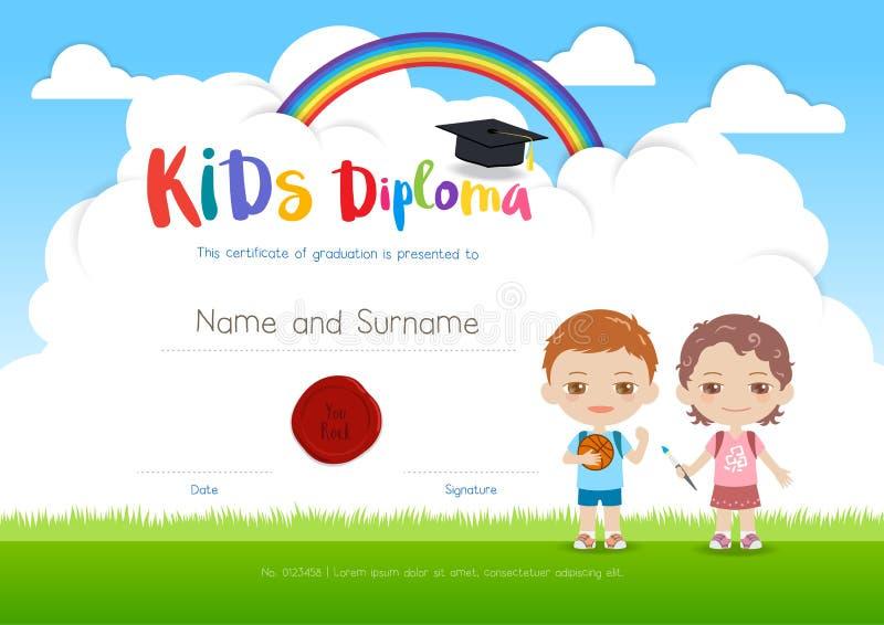 Modello variopinto del certificato del diploma del campeggio estivo dei bambini in cartoo illustrazione di stock