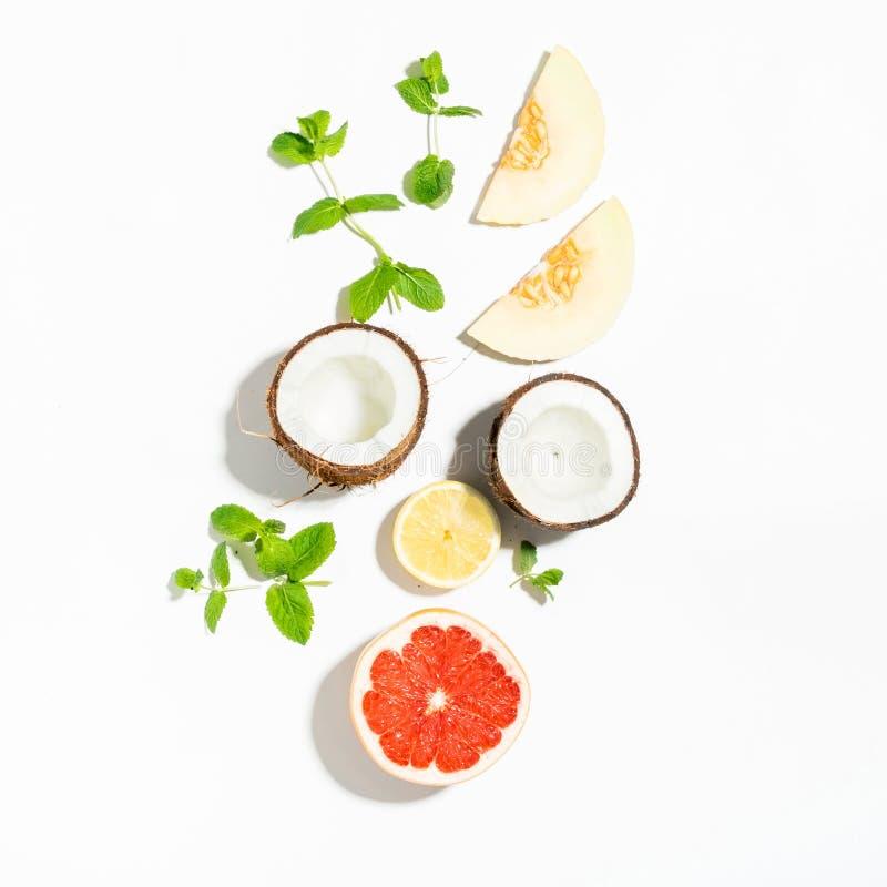 Modello variopinto della frutta del pompelmo fresco, noce di cocco, limone, melo immagini stock libere da diritti