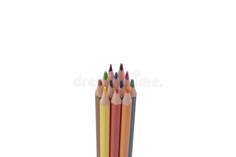 Modello variopinto delle matite isolato su fondo bianco fotografie stock