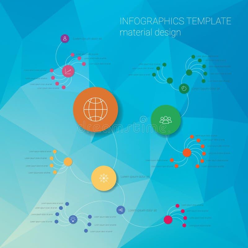 Modello variopinto di infographics con i cerchi sul minimo illustrazione vettoriale