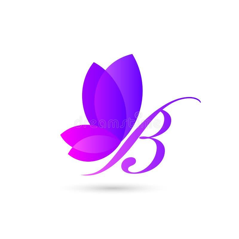 modello variopinto di logo della farfalla un concetto dell'illustrazione di bella farfalla formato dalla combinazione di lettera  illustrazione vettoriale
