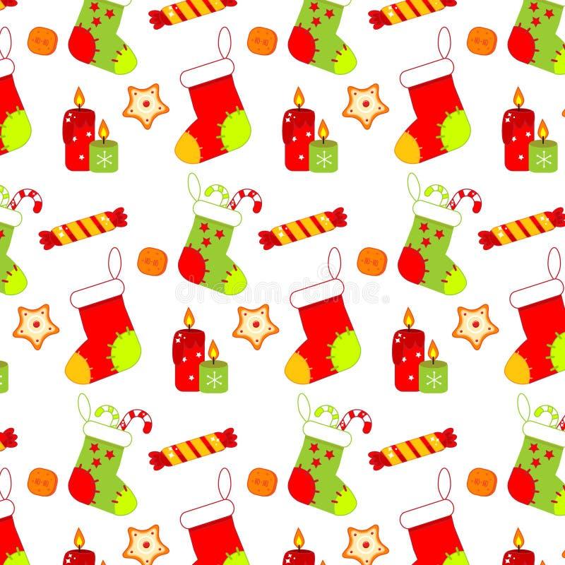 Modello variopinto di Natale con i calzini, i dolci e i candels Priorità bassa di nuovo anno royalty illustrazione gratis