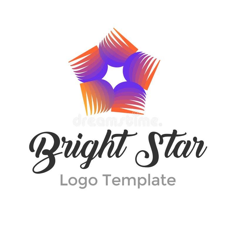 Modello variopinto di progettazione di logo della stella illustrazione di stock