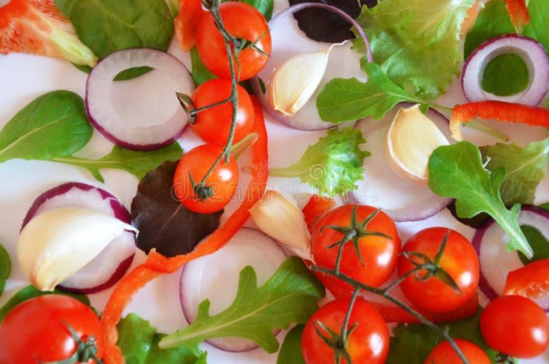 Modello variopinto fatto dei pomodori, Ruccola, anelli di cipolla porpora, peperone dolce rosso, peperoncino rosso, aglio, fette  immagine stock libera da diritti