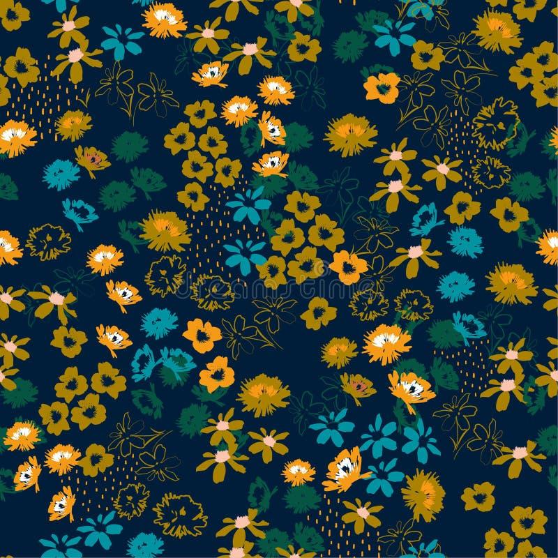 Modello variopinto fiorito in fiori su scala ridotta stile di libertà Priorità bassa senza giunte floreale illustrazione di stock