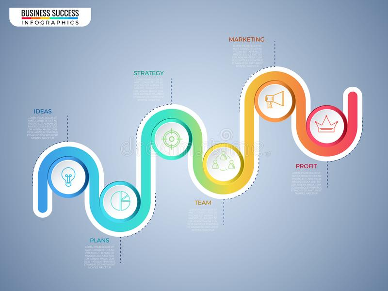 Modello variopinto moderno di infographics del cerchio di cronologia di affari con le icone e gli elementi Punto al concetto di a illustrazione di stock