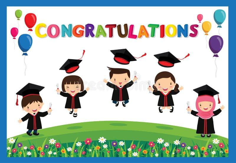 Modello variopinto prescolare di progettazione del fondo del certificato del diploma dei ragazzi e delle ragazze dei bambini illustrazione di stock