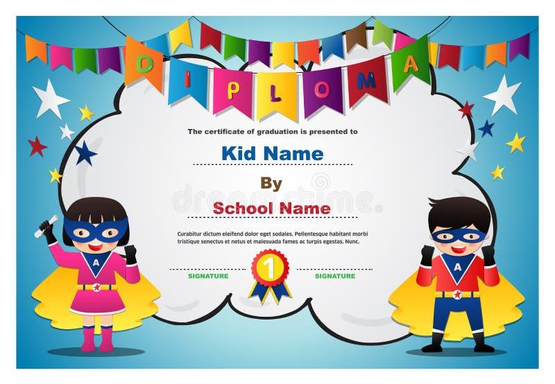 Modello variopinto prescolare di progettazione del fondo del certificato del diploma dei ragazzi e delle ragazze dei bambini del  illustrazione di stock