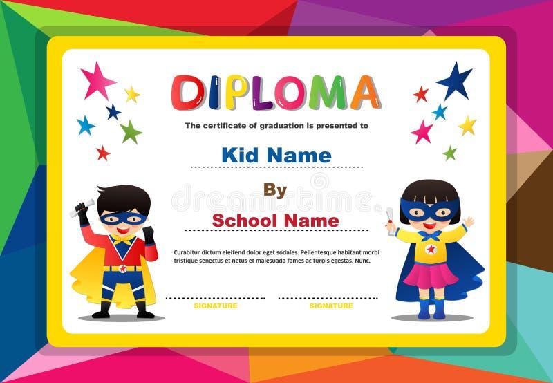Modello variopinto prescolare di progettazione del fondo del certificato del diploma dei ragazzi e delle ragazze dei bambini del  illustrazione vettoriale