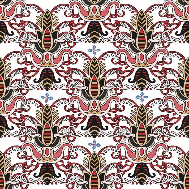 Modello variopinto senza cuciture nello stile turco Priorit? bassa decorativa dell'annata Ornamento disegnato a mano Islam, arabo illustrazione di stock