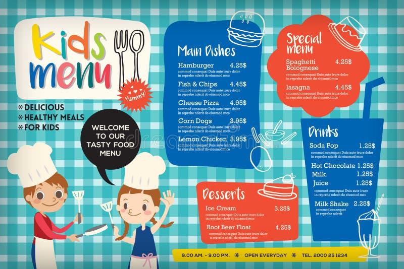 Modello variopinto sveglio del menu del pasto dei bambini illustrazione vettoriale