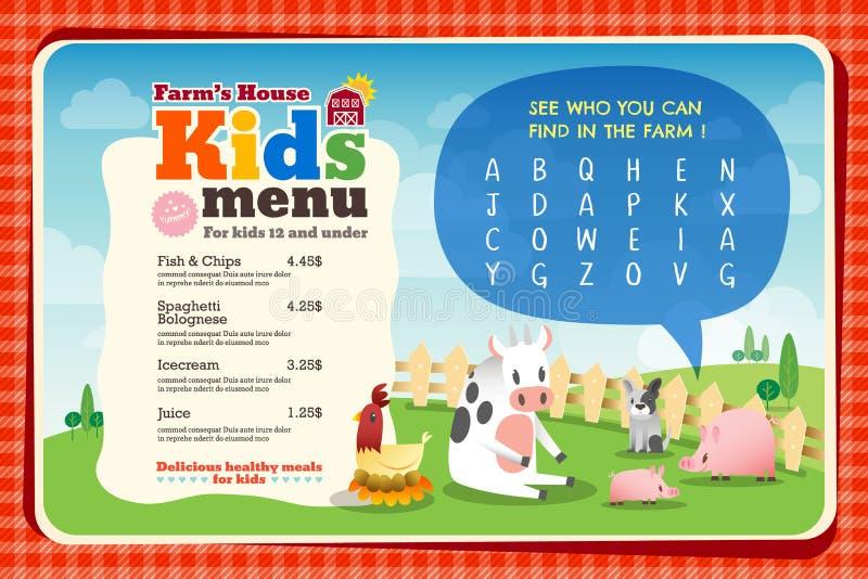 Modello variopinto sveglio del menu del pasto dei bambini royalty illustrazione gratis