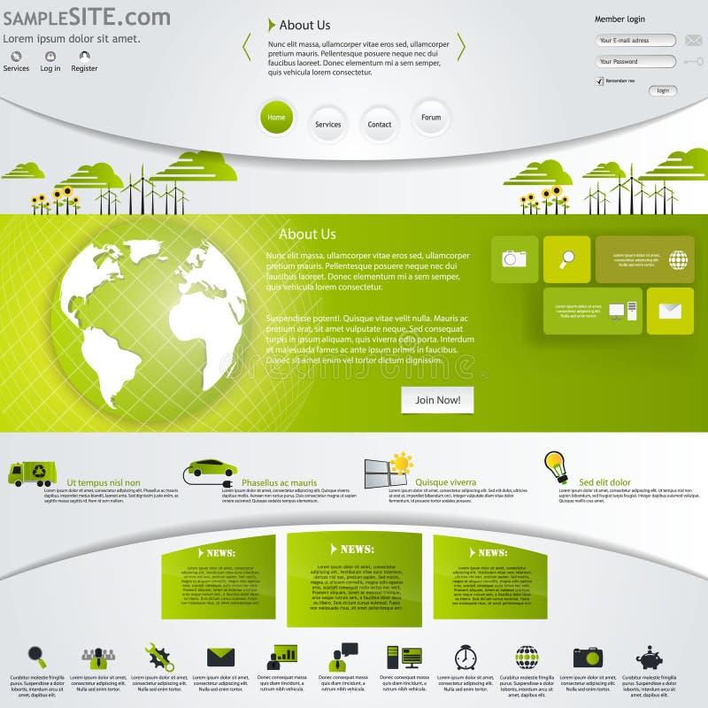 Modello verde del sito Web di Eco con le icone messe. illustrazione di stock