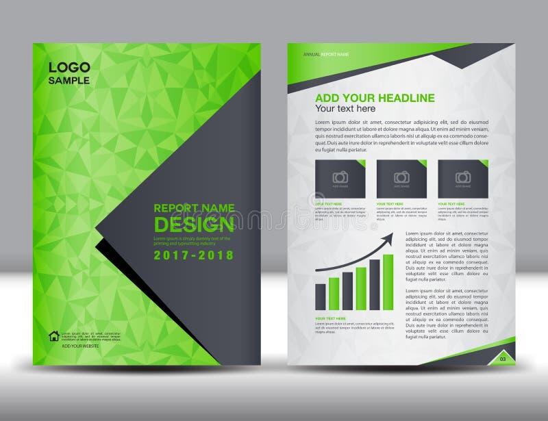 Modello verde dell'aletta di filatoio dell'opuscolo del rapporto annuale della copertura illustrazione vettoriale