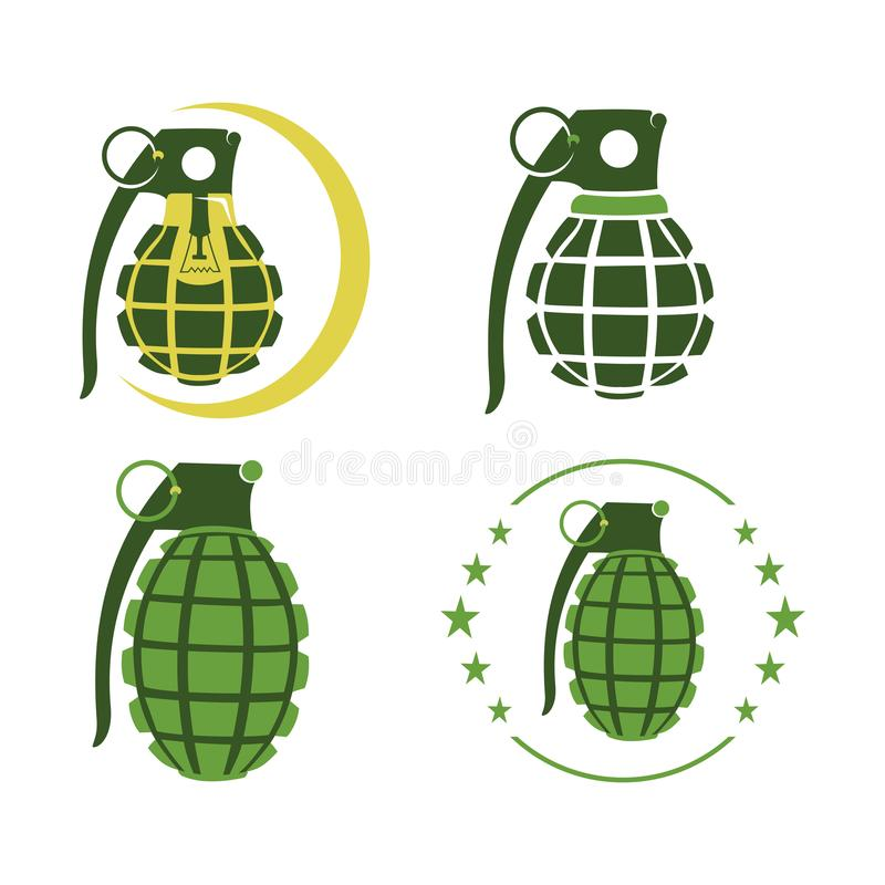 Modello verde dell'icona di simbolo della lampadina della lampada della granata illustrazione vettoriale