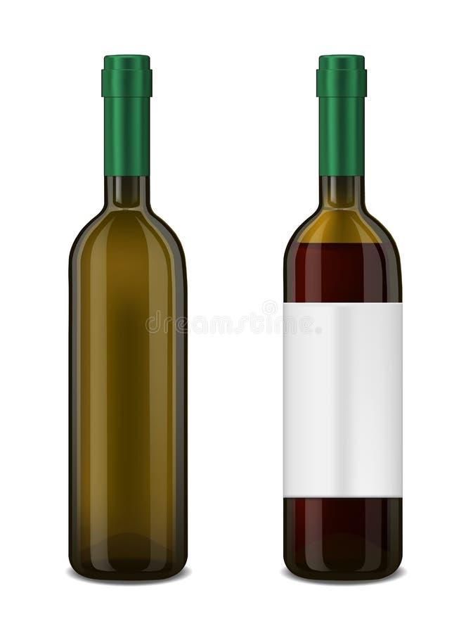 Modello verde della bottiglia di vetro Imballaggio del prodotto illustrazione di stock