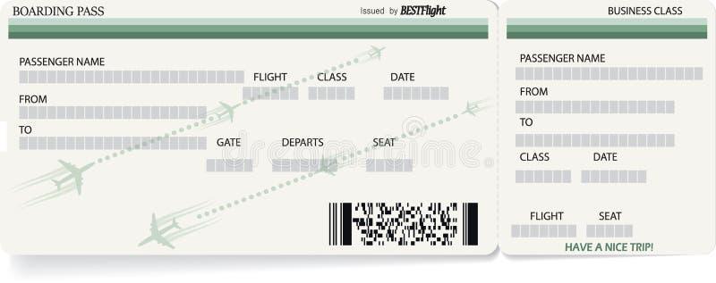 Modello verde di vettore del biglietto del passaggio di imbarco illustrazione di stock