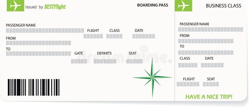 Modello verde di vettore di un biglietto del passaggio di imbarco illustrazione di stock