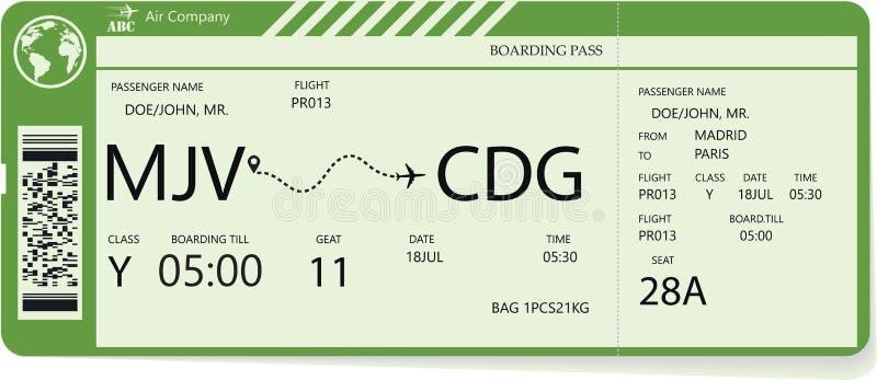 Modello verde di vettore di un biglietto del passaggio di imbarco royalty illustrazione gratis