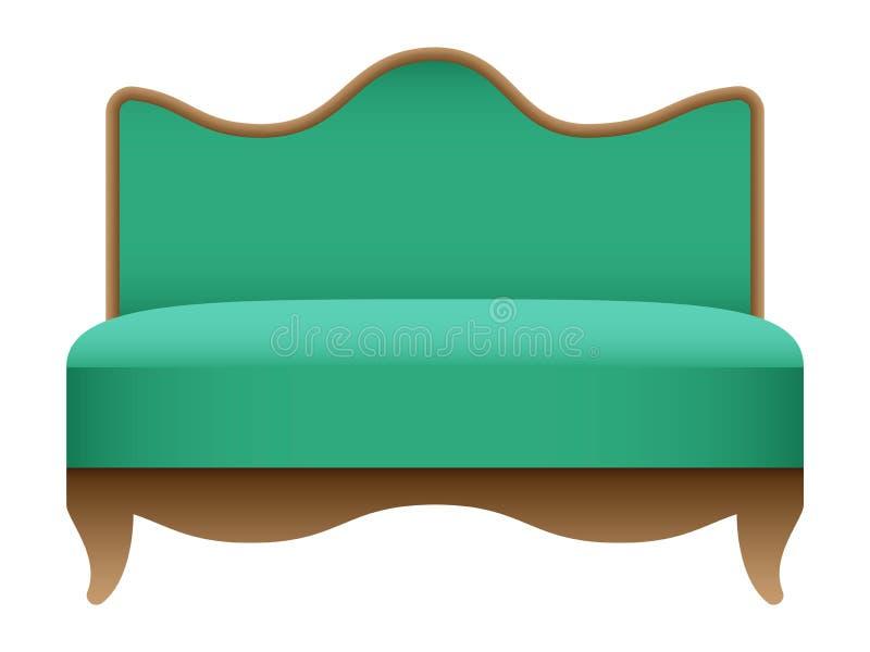 Modello verde reale del sofà, stile realistico illustrazione vettoriale