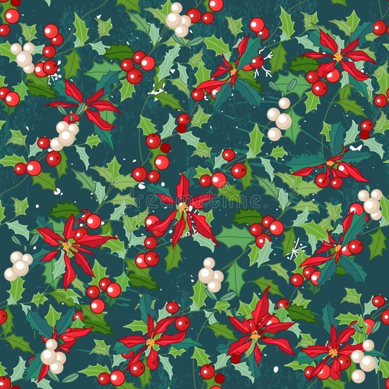Modello verde scuro senza cuciture con il fiore festivo tradizionale - il Natale star illustrazione vettoriale