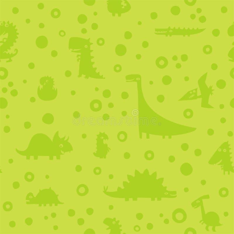 Modello verde senza cuciture con i dinosauri divertenti del fumetto royalty illustrazione gratis