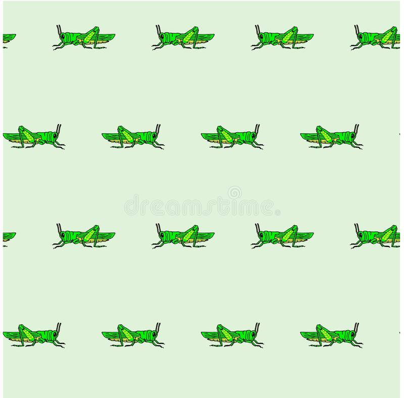 Modello verde senza cuciture sul blu, clipart della cavalletta dell'elemento di progettazione royalty illustrazione gratis