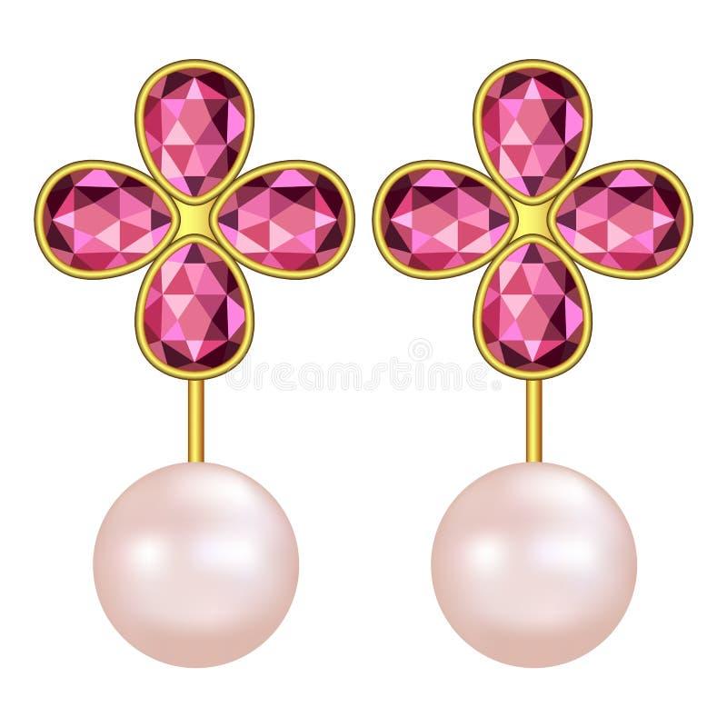 Modello vermiglio degli orecchini della perla, stile realistico royalty illustrazione gratis