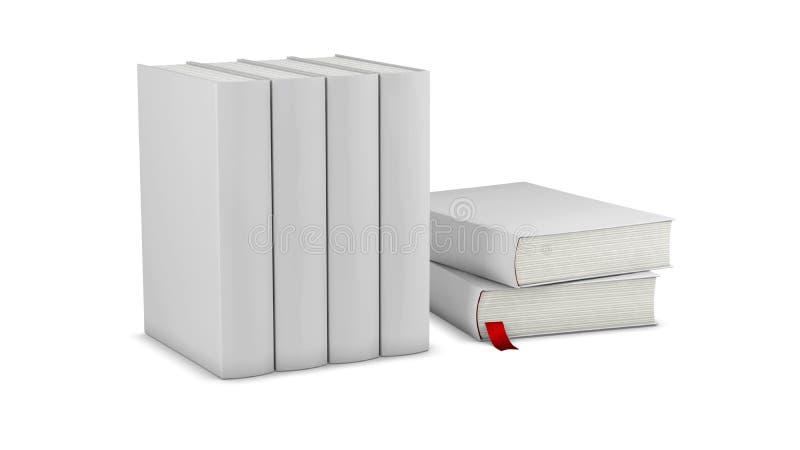 Modello verticale in bianco della copertina di libri sull'illustrazione della superficie 3d di bianco illustrazione vettoriale