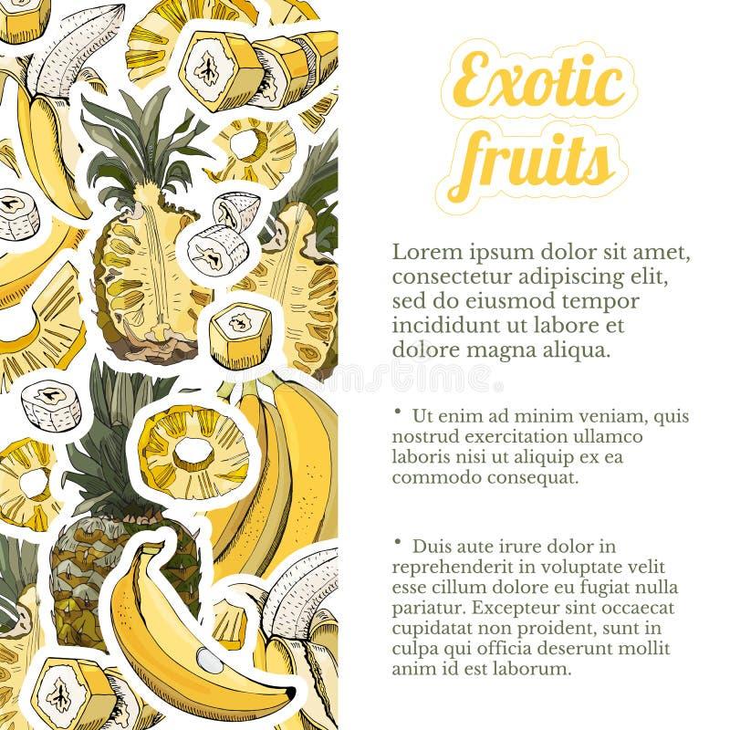 Modello verticale con gli autoadesivi dei frutti della banana e dell'ananas Interi ed oggetti affettati Abbozzo disegnato a mano royalty illustrazione gratis