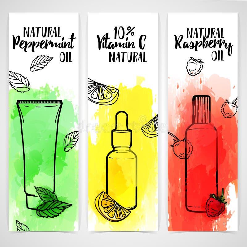 Modello verticale di progettazione degli opuscoli, libretti sui cosmetici organici Informazioni sugli ingredienti naturali per pe illustrazione vettoriale