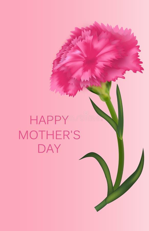 Modello verticale per la festa della Mamma con il garofano Insegna, manifesto o cartolina d'auguri Vettore illustrazione di stock