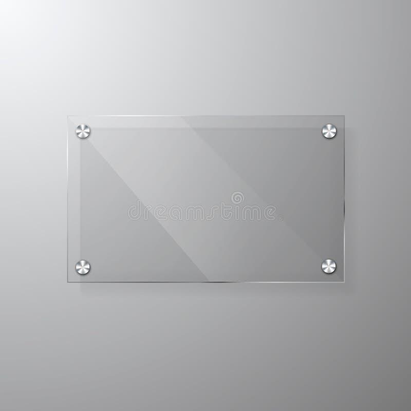Modello vetroso moderno del contrassegno di vettore con spazio per il messaggio Chiara derisione acrilica di progettazione dell'i royalty illustrazione gratis